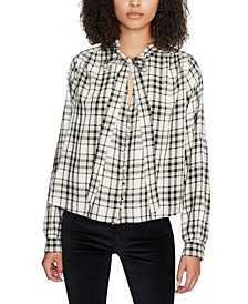 Kiera Plaid Tie-Neck Top