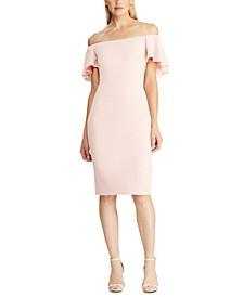 Ruffle-Cape Jersey Dress