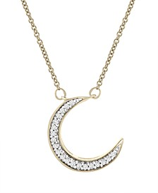 Diamond (1/10 ct. t.w.) Half Moon Necklace in 14k Yellow Gold Over Silver