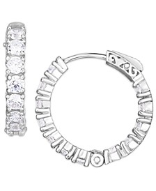 Cubic Zirconia Small Hoop Earrings in Fine Silver Plate