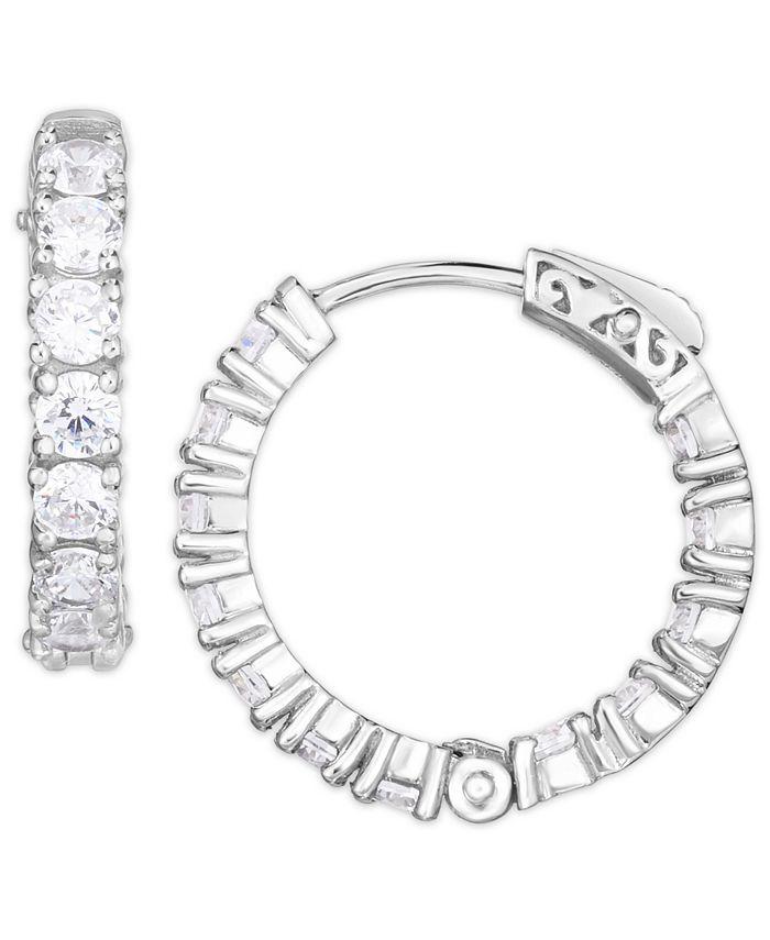 Macy's - Cubic Zirconia Small Hoop Earrings in Fine Silver Plate