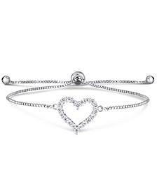 Cubic Zirconia Heart Adjustable Slider Bolo Bracelet in Fine Silver Plate