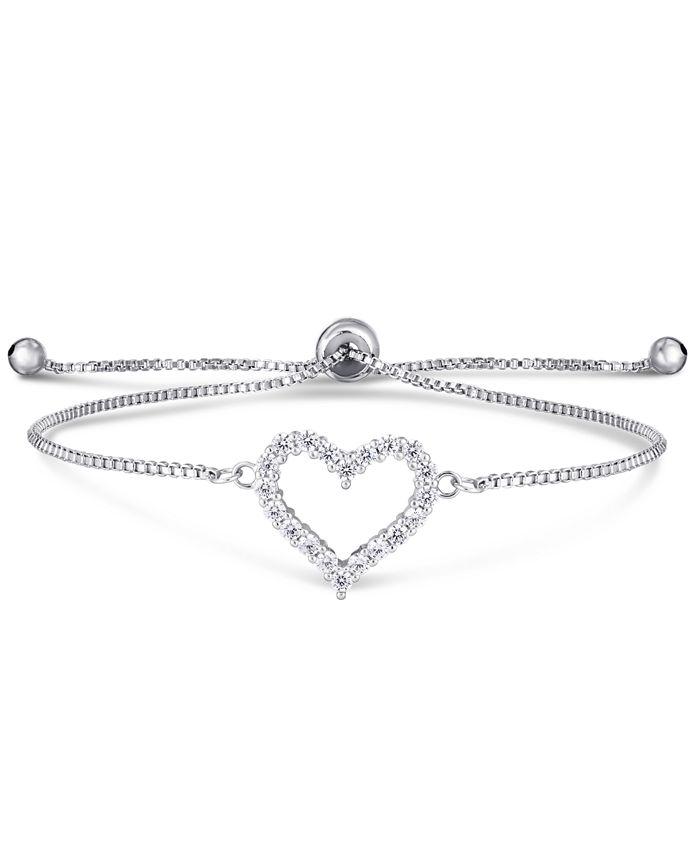 Macy's - Cubic Zirconia Heart Adjustable Slider Bolo Bracelet in Fine Silver Plate