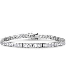 Cubic Zirconia Rounds Line Bracelet in Fine Silver Plate