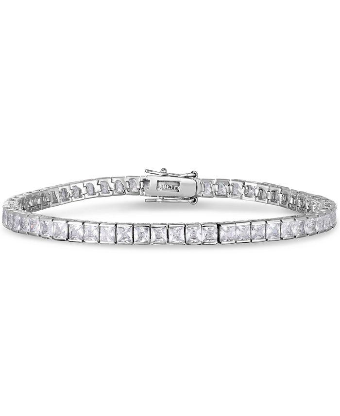 Macy's - Cubic Zirconia Rounds Line Bracelet in Fine Silver Plate