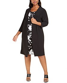 Plus Size Jacket & Floral-Print A-Line Dress