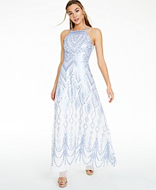 Juniors' Sequin Geo-Print Strappy-Back Gown