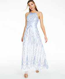 Trixxi Juniors' Sequin Geo-Print Strappy-Back Gown