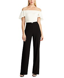 Two-Tone Belted Jumpsuit