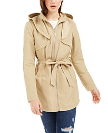 Juniors' Hooded Trench Coat
