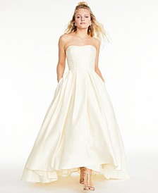 Strapless High-Low Ballgown