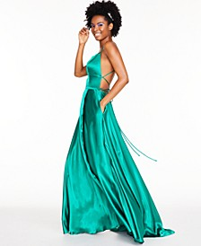 Satin Strappy-Back Gown