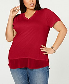 INC Plus Size Short-Sleeve V-Neck Tunic, Created for Macy's