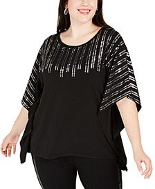 Plus Size Sequin-Trim Poncho Top