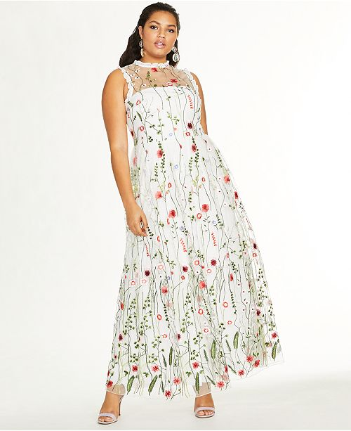 City Studios Trendy Plus Size Embroidered Floral Gown