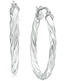 "Small Twisted Hoop Earrings in Sterling Silver, 1"", Created for Macy's"