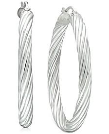 "Medium Twisted Tube Hoop Earrings in Sterling Silver, 1.57"", Created for Macy's"