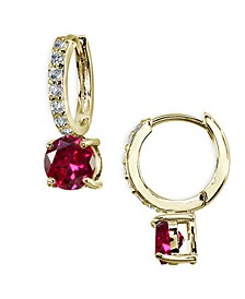 Colored Cubic Zirconia Huggie Hoop Earrings in 18k Gold Plated Sterling Silver