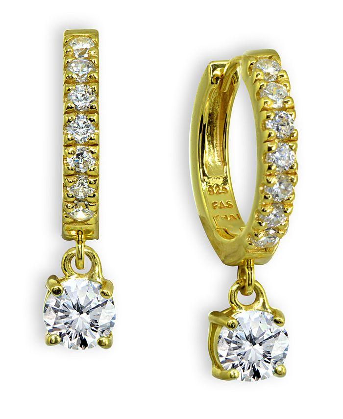 Giani Bernini - Cubic Zirconia Dangle Drop Huggie Hoop Earring in 18k Gold Plated Sterling Silver