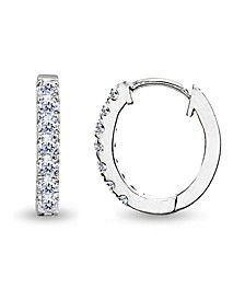 Cubic Zirconia Oval Huggie Hoop Earrings in Sterling Silver