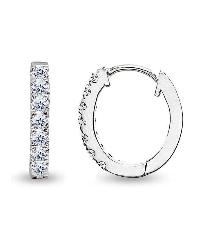 Giani Bernini - Cubic Zirconia Oval Huggie Hoop Earrings in Sterling Silver