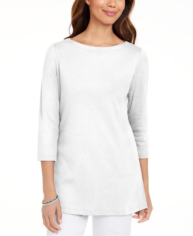 Karen Scott Cotton 3/4-Sleeve Tunic, Created for Macy's