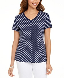 Petite Chevron-Print T-Shirt, Created for Macy's