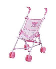 "Love Heart Pretend Play 18"" Baby Doll Umbrella Stroller"