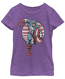 Marvel Big Girl's Captain America Charge Short Sleeve T-Shirt