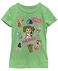 Star Wars Big Girl's The Kawaii Stickers Short Sleeve T-Shirt