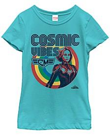 Marvel Big Girl's Captain Marvel Cosmic Vibes Only Short Sleeve T-Shirt