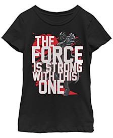 Star Wars Big Girl's Force is Strong Darth Vader Short Sleeve T-Shirt