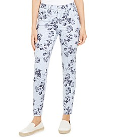 Striped Floral Printed Bristol Skinny Ankle Pants, Created for Macy's