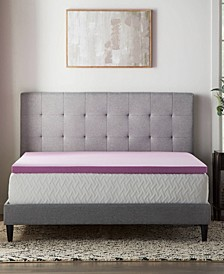 "2"" Lavender Memory Foam Mattress Topper, Twin"