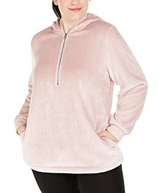 Plus Size Half-Zip Faux-Fur Hoodie, Created For Macy's