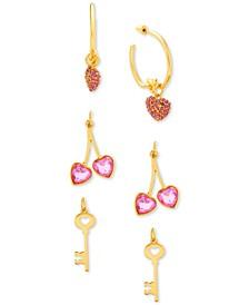 "Gold-Tone Interchangeable Crystal Charm Medium Hoop Earrings, 1.19"""