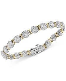 Diamond Halo Cluster Link Bracelet (4 ct. t.w.) in 14k Gold & White Gold
