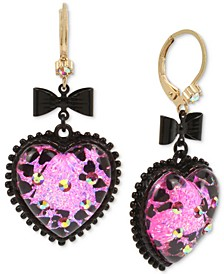 Two-Tone Bow & Crystal Glitter Heart Drop Earrings