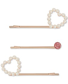 3-Pc. Rose Gold-Tone Crystal & Imitation Pearl Open Heart Bobby Pin Set
