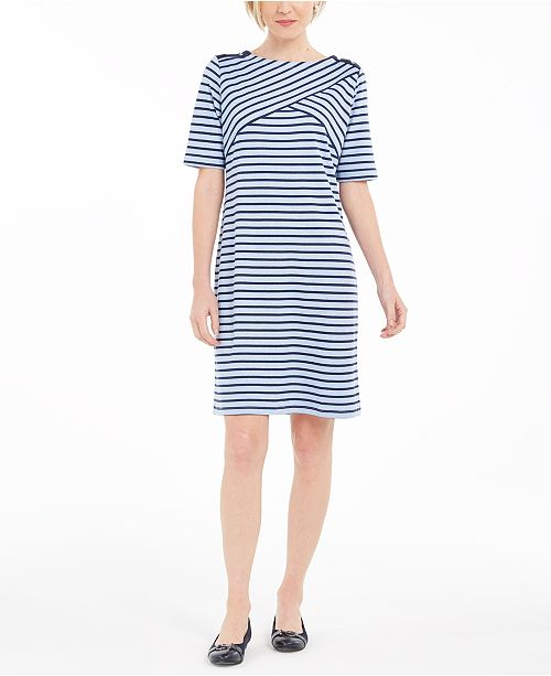 Karen Scott Petite Striped Shift Dress, Created For Macy's