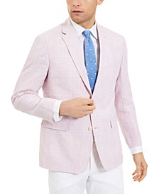 Men's Modern-Fit TH Flex Stretch Pink/Blue Windowpane Plaid Sport Coat