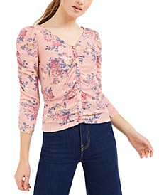 Juniors' Ruched Floral Top