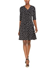 Petite Polka-Dot Ruffled Wrap Dress