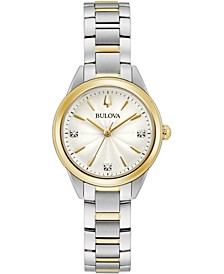 Women's Sutton Diamond-Accent Two-Tone Stainless Steel Bracelet Watch 28mm