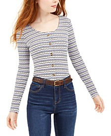 Juniors' Button Crop Pointelle Top