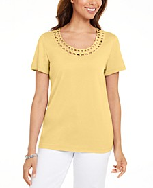 Petite Cotton Rhinestone Top, Created for Macy's