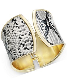 Gold-Tone Faux Snakeskin Cuff Bracelet, Created For Macy's