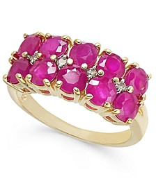 Certified Ruby (3-1/3 ct. t.w.) & Diamond (1/20 ct. t.w.)Two-Row Statement Ring in 14k Gold