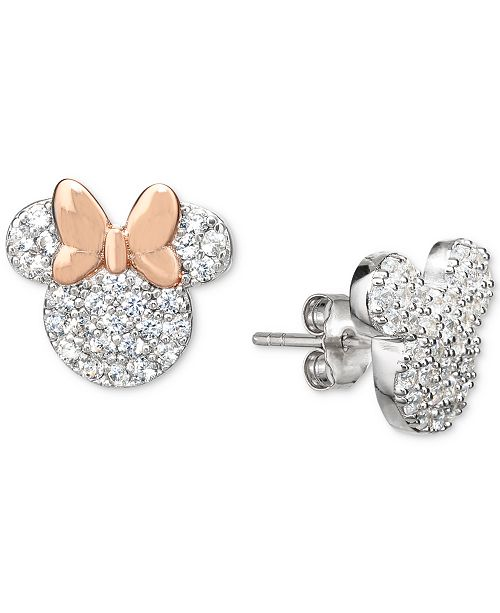 Disney Cubic Zirconia Mickey and Minnie Mismatch Stud Earrings in Sterling Silver & 18k Rose Gold-Plate