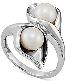 Cultured Freshwater Pearl (6-1/2mm) Bypass Ring in Sterling Silver
